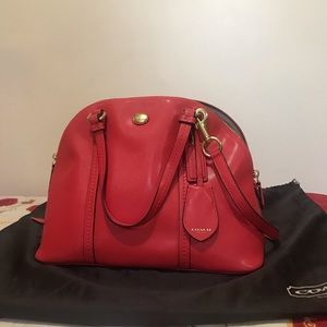 Coach Peyton Red Domed Satchel Bag